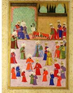 Kanuni Sultan Süleyman oğlu Şehzade Mustafa'nın tabutunun başında ağlıyor..